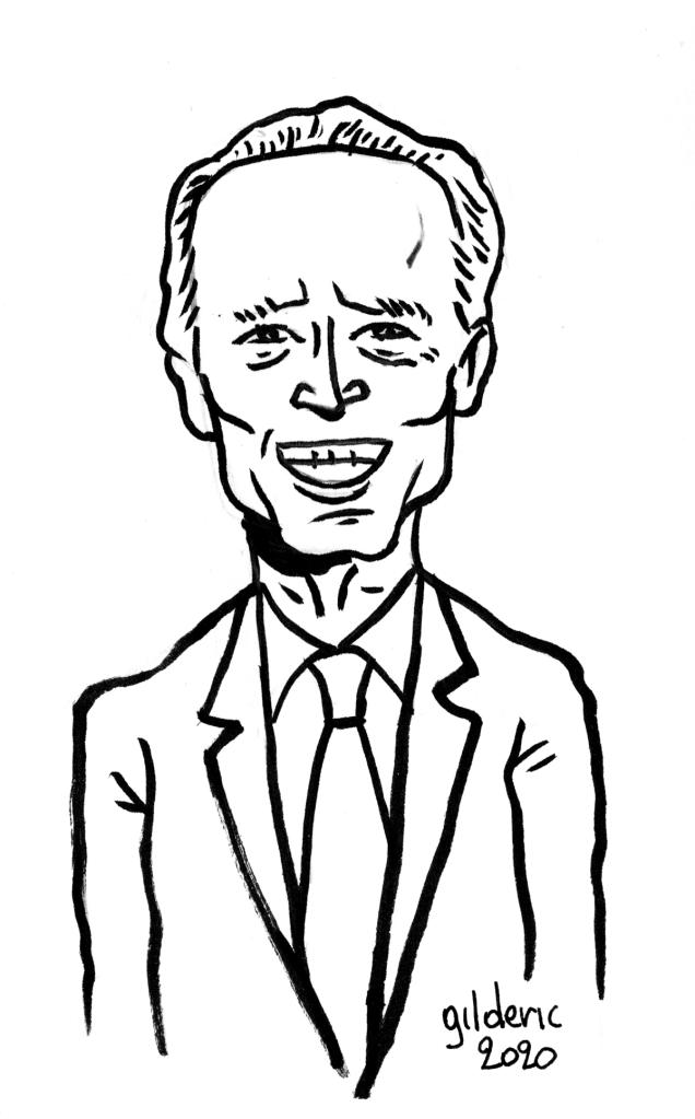 Joe Biden : dessin à l'encre sur papier (portrait)