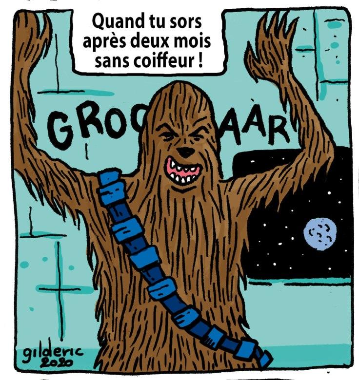 Après 2 mois sans coiffeur, t'es comme Chewbacca (dessin)