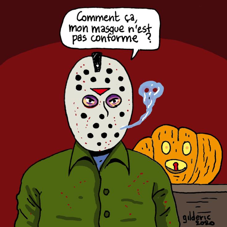 Halloween confiné : masque non conforme (dessin)