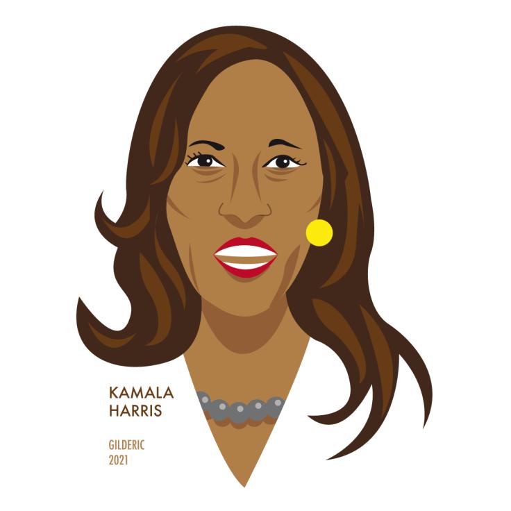 Kamala Harris, vice-présidente des USA (portrait, illustration vectorielle flat design)