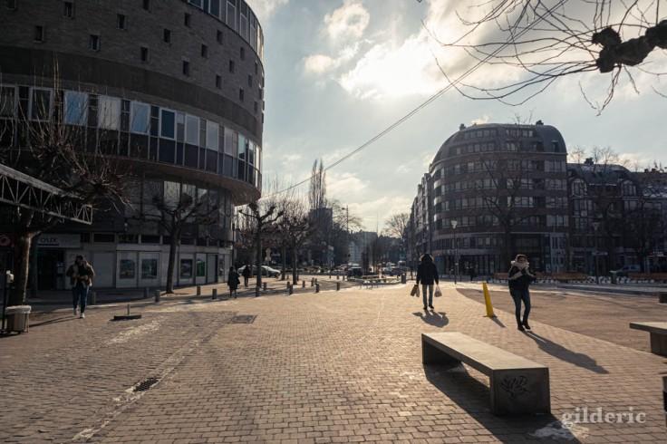 Les Chiroux dans le froid (Liège)
