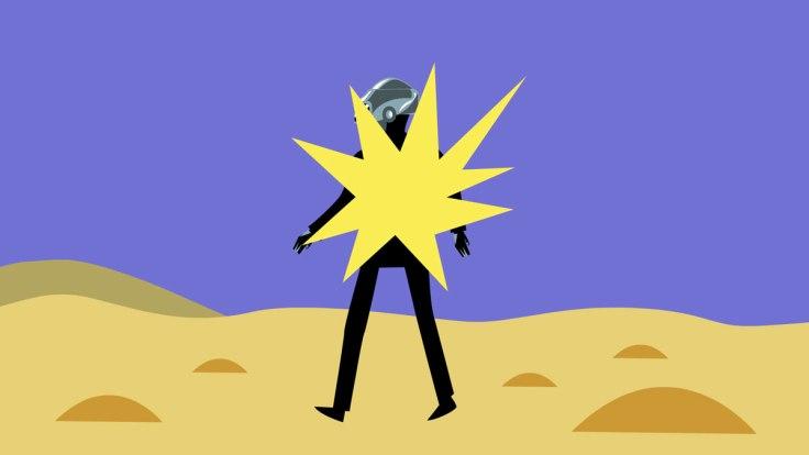 Un des Daft Punk explose (illustration vectorielle), image extraite de la parodie animée