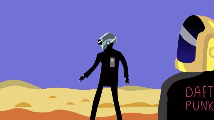 Daft Punk épilogue : deux robots dans le déserts (illustration vectorielle)