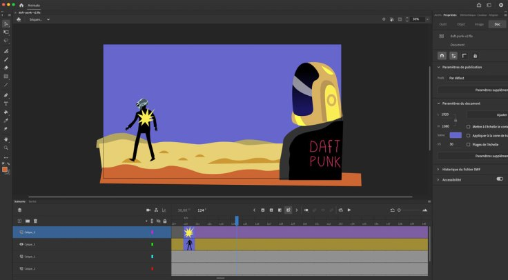 Interface du logiciel Adobe Animate