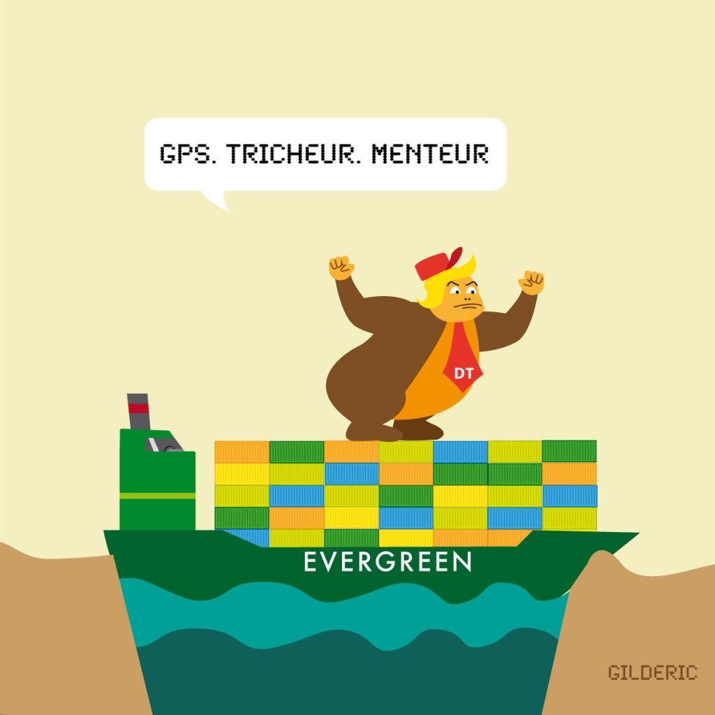 Donkey Trump contre le porte-conteneurs d'Evergreen au canal de Suez - illustration vectorielle -case 3