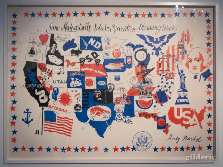 Carte des Etats-Unis, dessinée par Warhol (expo à la Boverie, Liège)