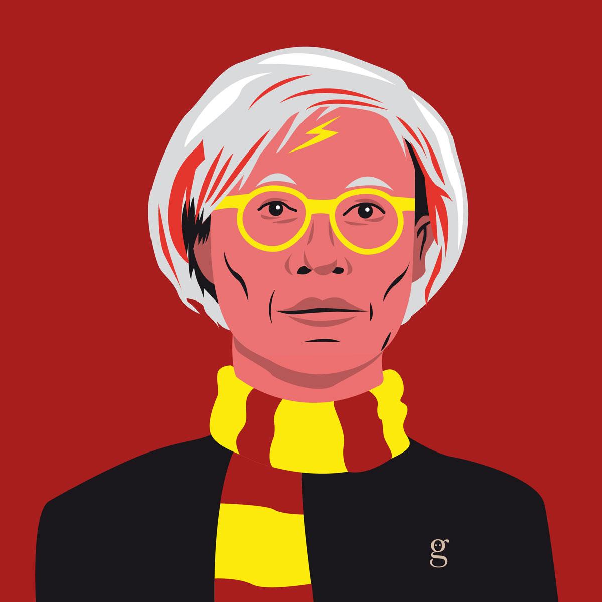 Mashup Andy Warhol x Harry Potter (vector illustration) - variante Gryffondor