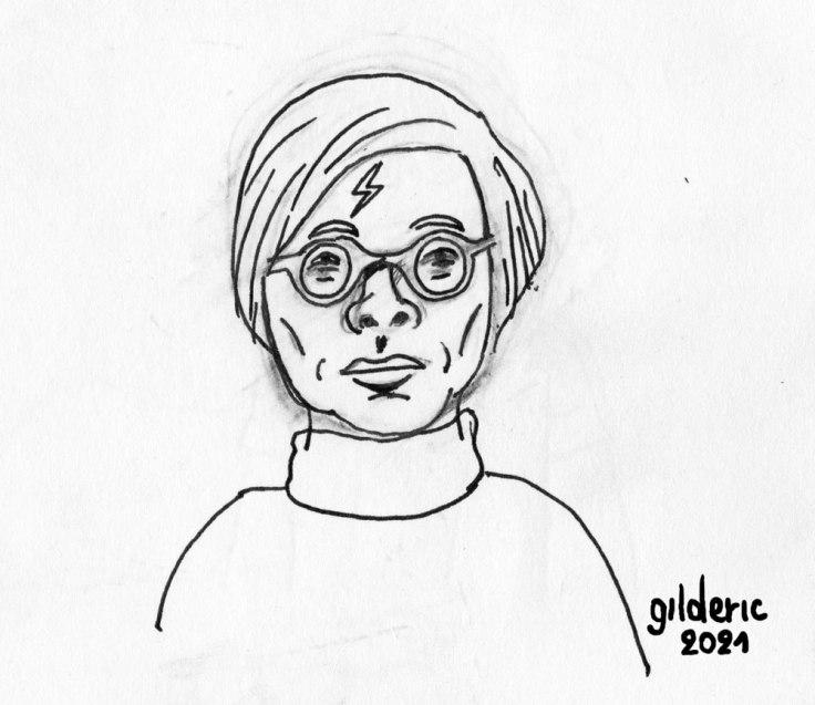 Mashup Andy Warhol x Harry Potter (première esquisse, crayon et encre)