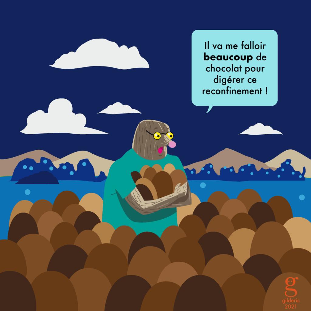 Taupe Chef - Pâques confinée et oeufs en chocolat (dessin humour)