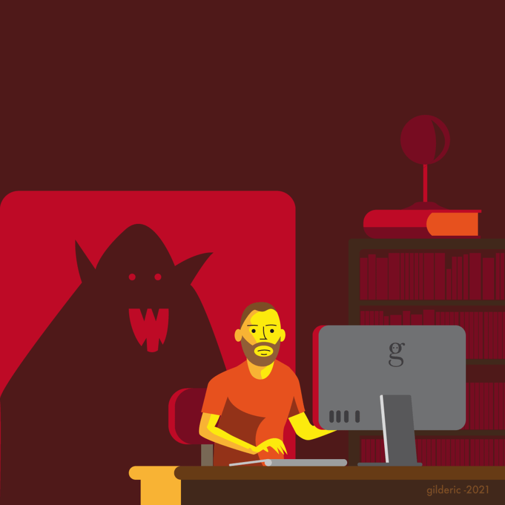Jouer le troll sur internet -illustration vector de Gilderic (illustrateur à Liège) -illustration vector de Gilderic (illustrateur à Liège)