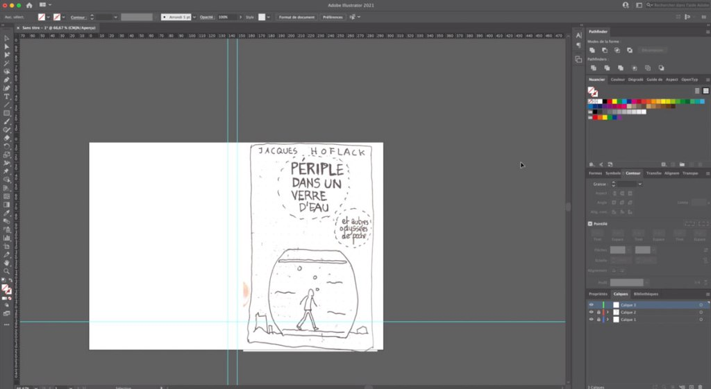 Importation du croquis dans Adobe Illustrator (capture écran de la vidéo)