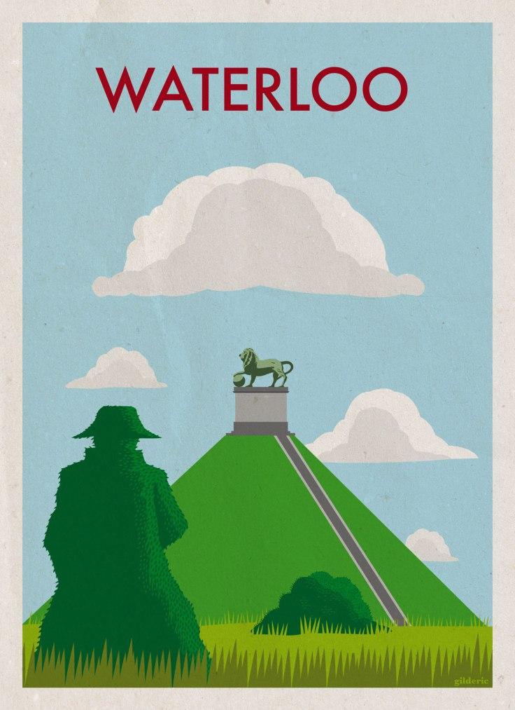 La Butte du Lion de Waterloo : affiche de voyage vintage - version avec texture