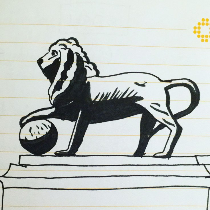 Butte du Lion à Waterloo - croquis à l'encre