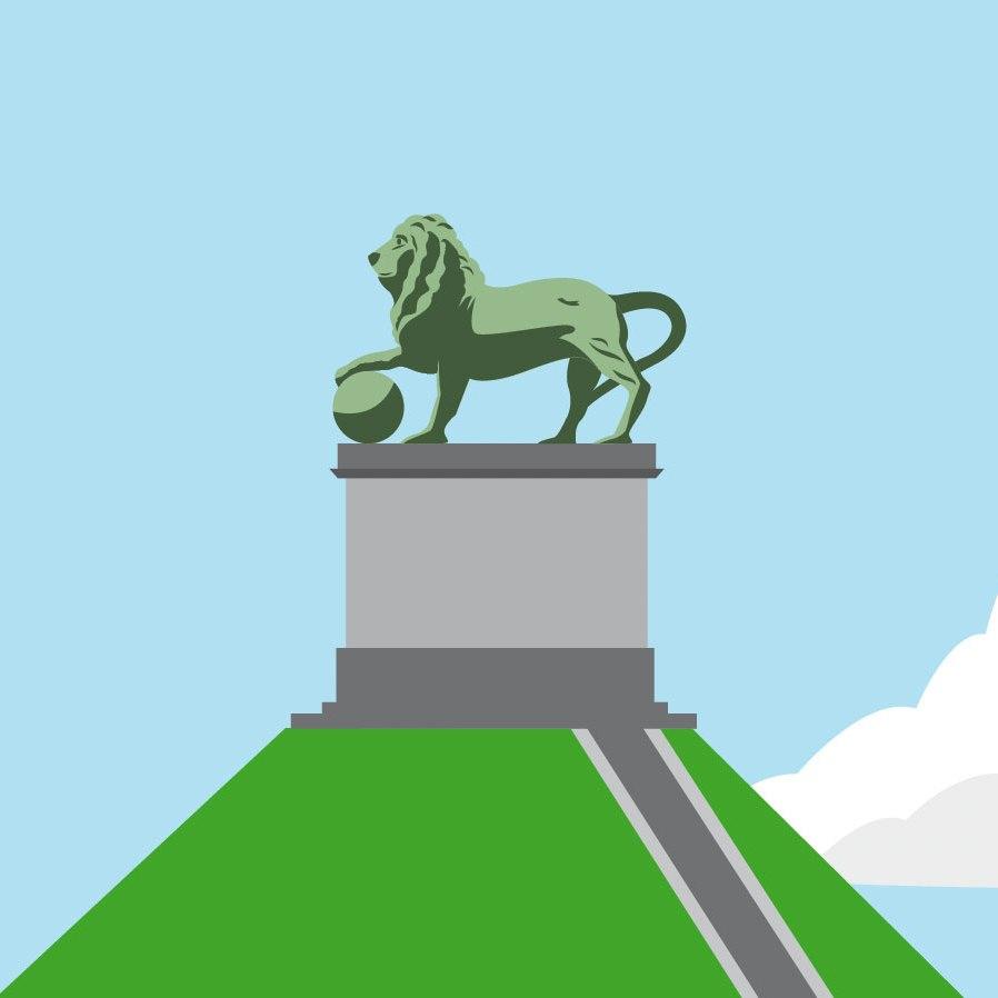 Butte du Lion à Waterloo (dessin vectoriel, détail du poster)