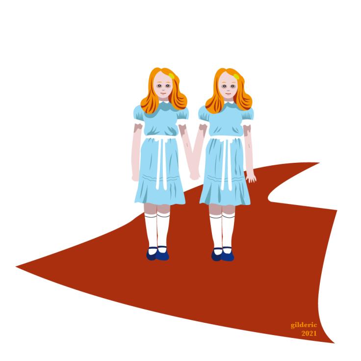 Les soeurs Grady ne sont pas pas jumelles dans Shining - vector illustration