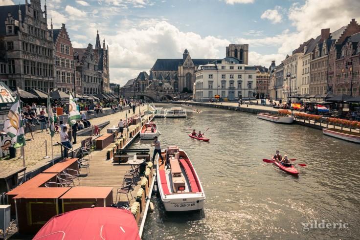 La Lys, le Graslei et les bateaux : le coeur touristique de Gand
