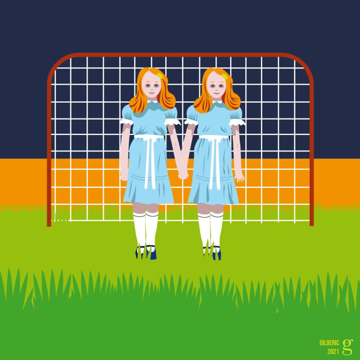 Cinéma vs Foot : les fillettes de Shining (dessin mashup vectoriel)