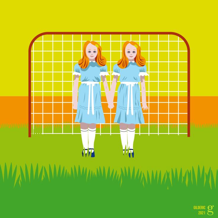 Cinéma vs Foot : les fillettes de Shining au goal (dessin mashup vectoriel) - version jaune