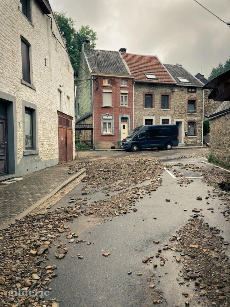Dégâts des inondations à Theux (province de Liège, Belgique)