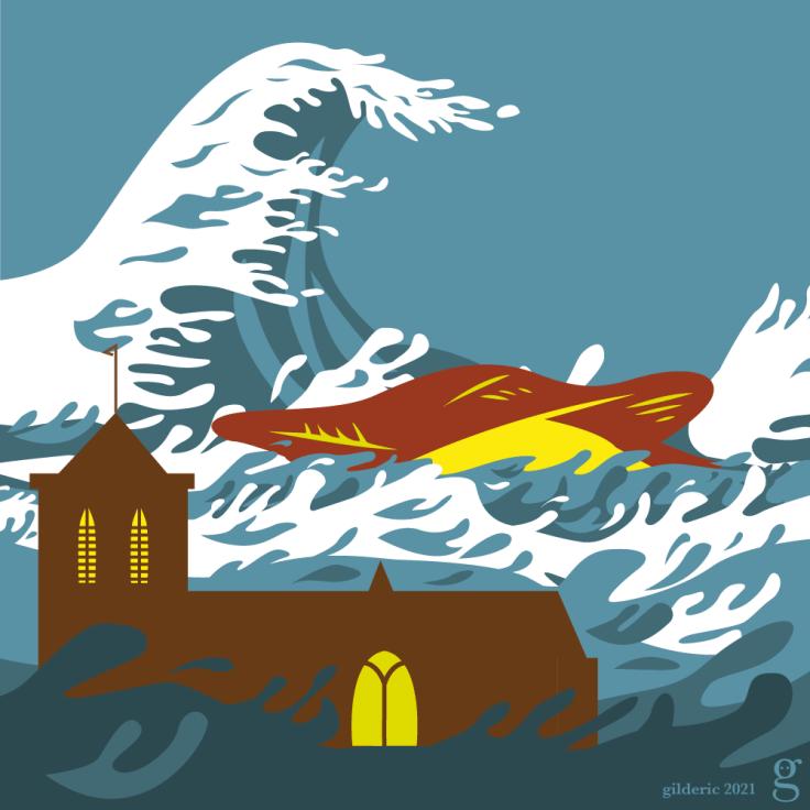 Liège inondée - illustration librement inspirée de Hokusaï- vector illustration