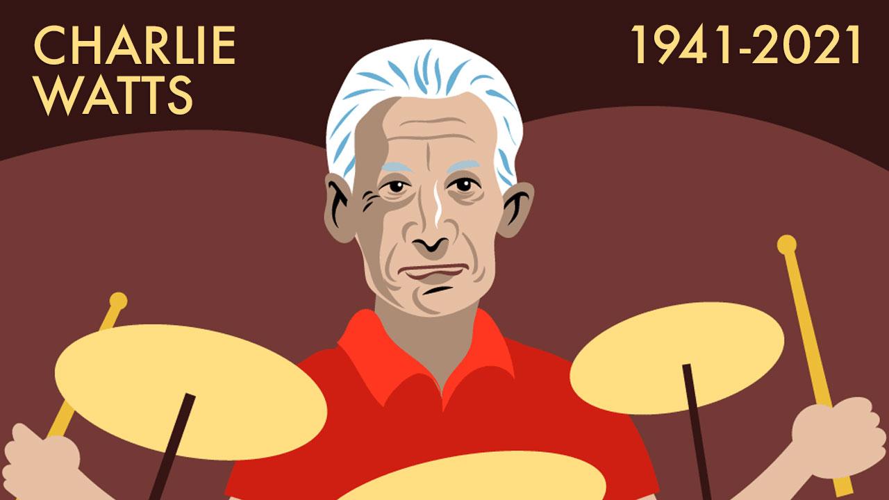 Hommage illustré à Charlie Watts , le plus discret des Rolling Stones