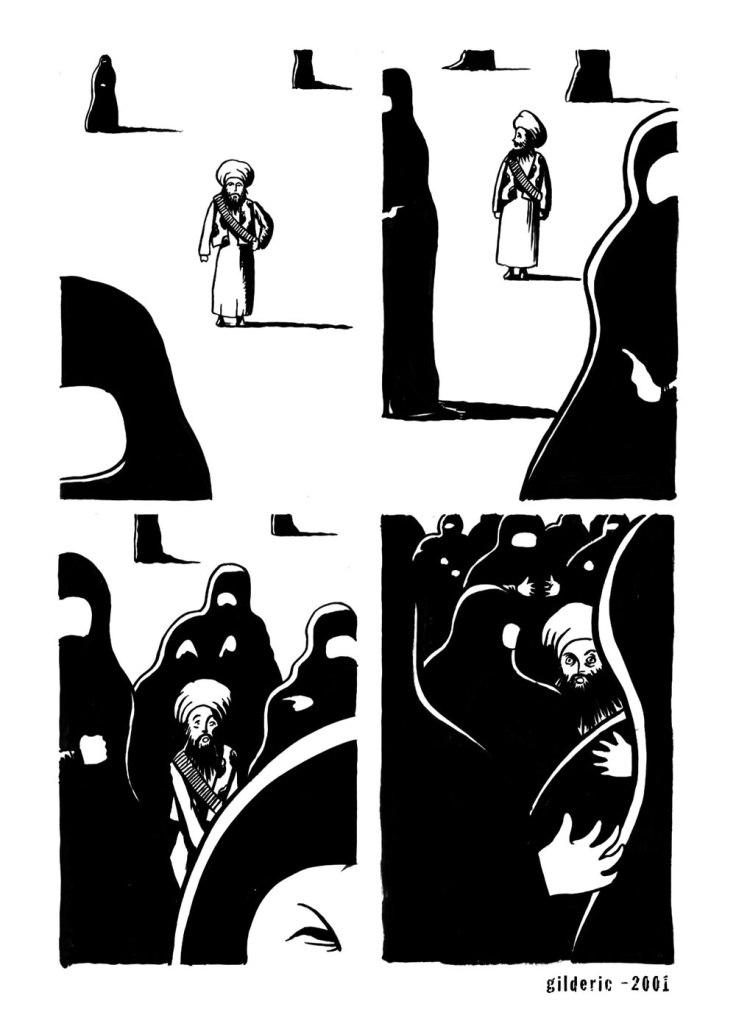 Burqas vs Talibans : planche de BD (dessin d'actualité)