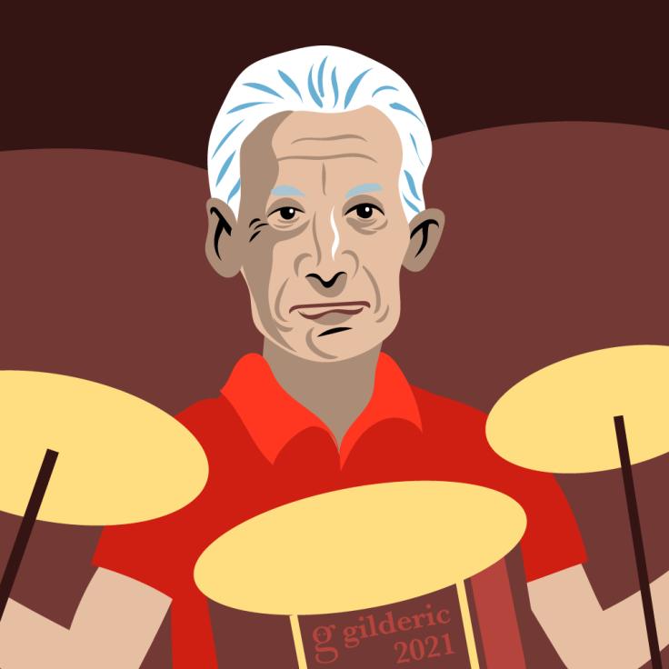Charlie Watts, batteur des Rolling Stones -gros plan - portrait (illustration vectorielle)