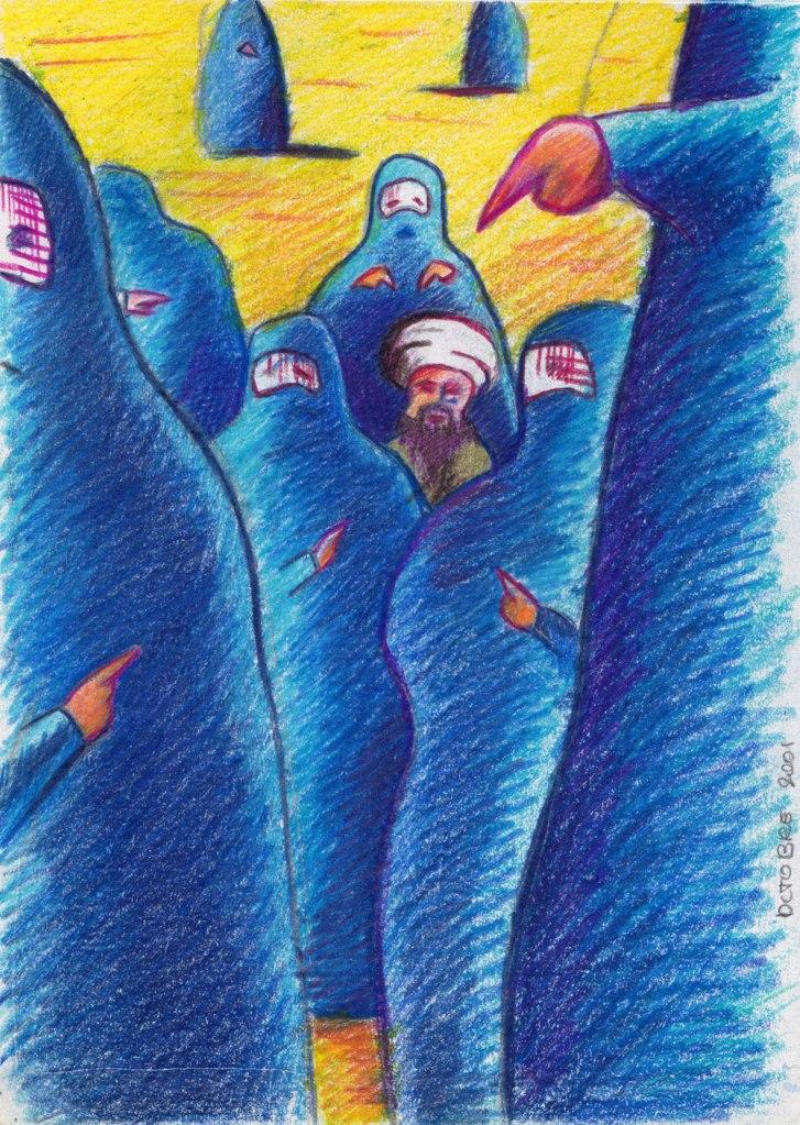 Revanche des Burqas sur Ben laden et les talibans - dessin aux crayons de couleur