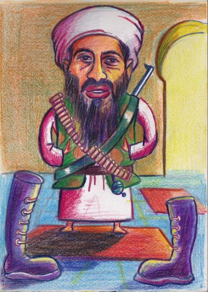 Oussama Ben laden -caricature (dessin aux crayons de couleur)