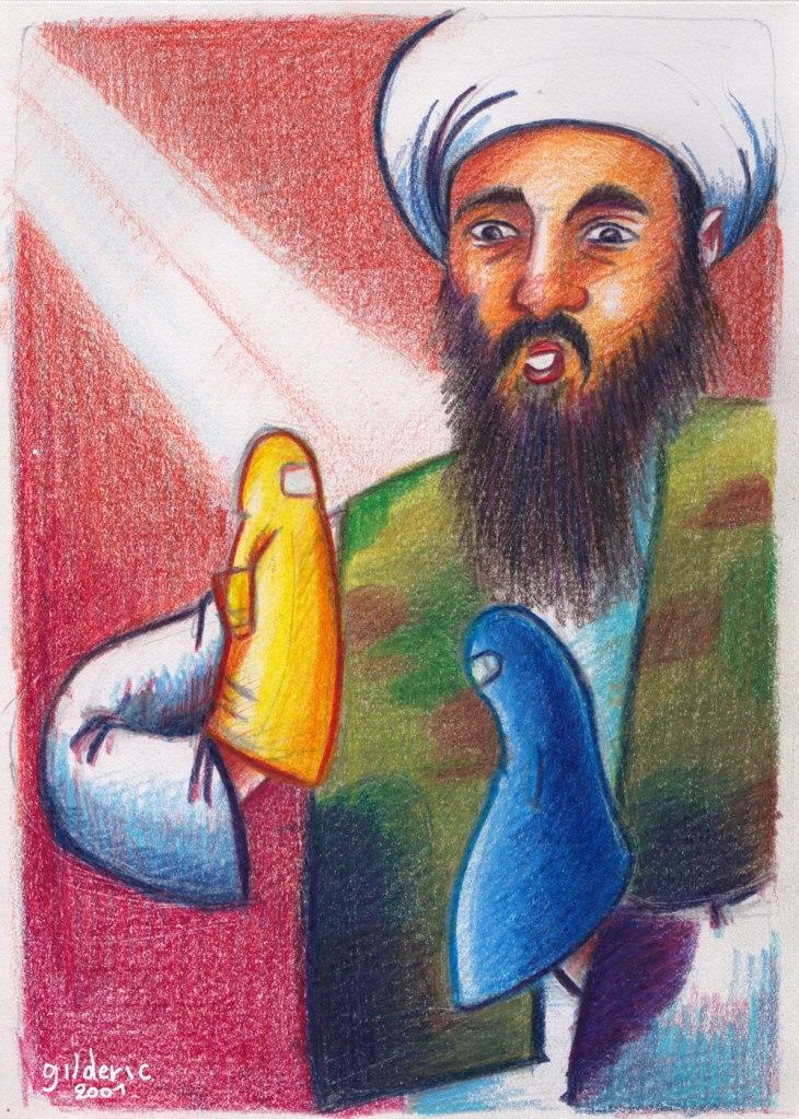 Ben Laden : manipulateur ou bouc-émissaire (caricature -dessin aux crayons de couleurs)