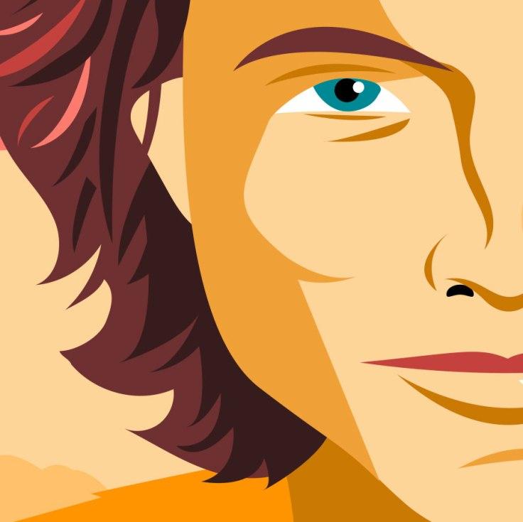 Timothée Chalamet (Paul Atréides) dans Dune - dessin vectoriel (détail)