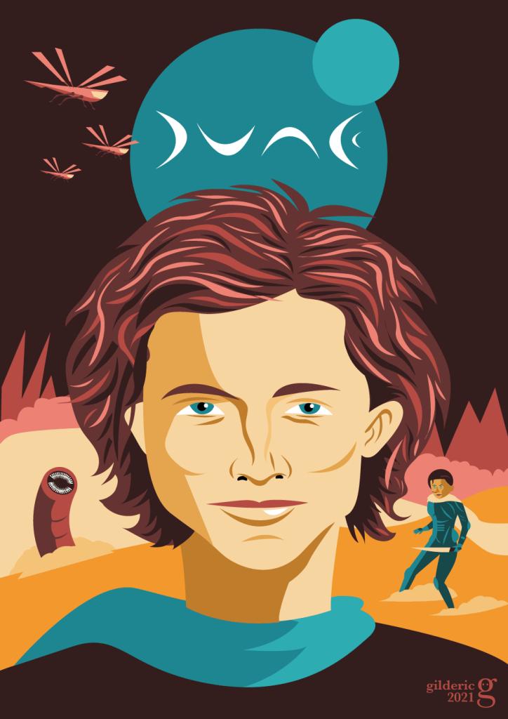 Dune de Denis Villeneuve avec Timothée Chalamet : affiche alternative - illustration vectorielle
