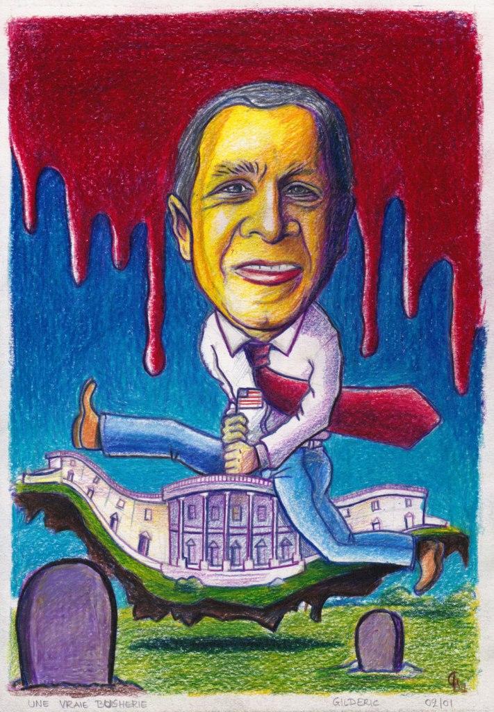 George W. Bush caricature (dessin au crayon de couleur, 2001)