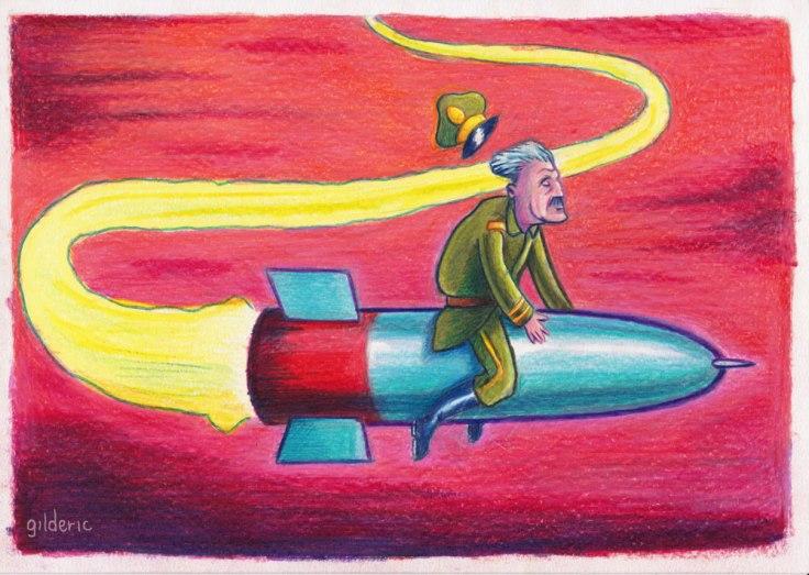 La guerre au terrorisme - caricature (dessin aux crayons de couleur)