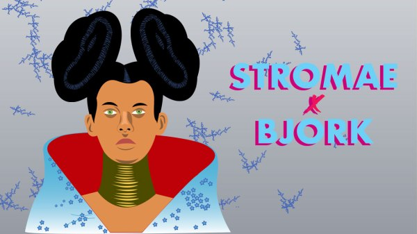 Mashup Stromae vs Bjork - illustration vectorielle