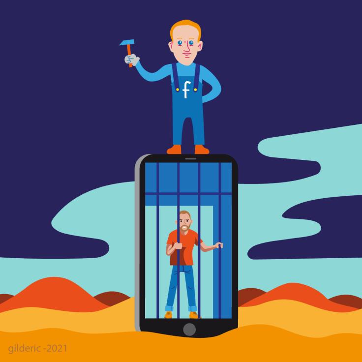 Sommes-nous prisonniers de Facebook et des réseaux sociaux - variante bleue - dessin vector