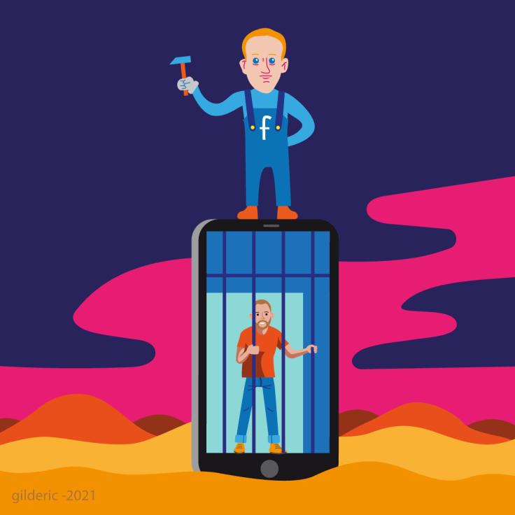 Sommes-nous prisonniers de Facebook et des réseaux sociaux -dessin vector